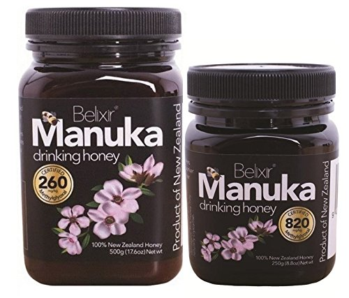 Price comparison product image Manuka Honey 2 pack. 8.8 oz jar of top strength MG 820 and 1.1 lb jar of MG 260. Best family value pack MG260 for every day maintenance and MG820 for the medicine cupboard.
