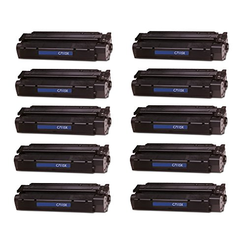10 Pack Remanufactured Replacement Laser Toner Cartridge for Hewlett Packard C7115X (HP 15X) High-Yield Black