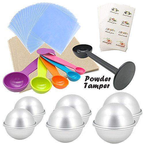 Bath Bomb DIY Kit,12x Aluminum Bath Bomb Molds 3 Sizes,1x Powder Tamper,1 Set of Measuring Spoon,50x Wrapping Paper,50 Shrink Wrap Bag, Crafting Starter Metal (Hemisphere Sheet Mold)