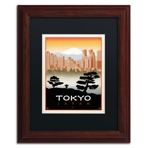 Tokyo Canvas Art by Anderson Design Group, 11 by 14-Inch, Black Matte with Wood Frame ()