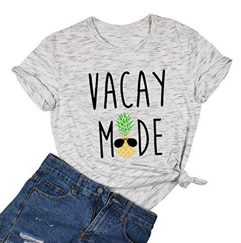 Cute Pineapple Shirts Women Funny Vacay Mode Sunglasses Hawaiian T-Shirt Tops Casual (White, X-Large)