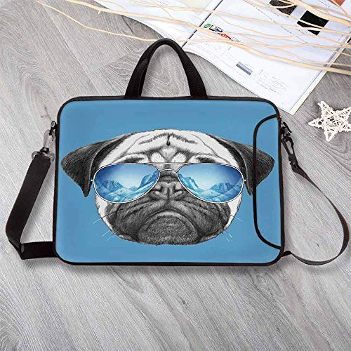 Pug Portable Neoprene Laptop Bag,Pug Portrait with Mirror Sunglasses Hand Drawn Illustration of Pet Animal Funny Laptop Bag for Travel Office School,15.4