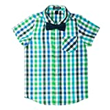 Born to Love Blue and Green Easter Special Occasion Shirt (6-12 Months, Set with Bow tie)