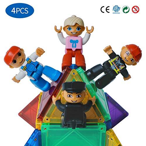 Magblock Magnetic Community Figures Set of 4 - Toy People Magnetic Tiles Expansion Pack for Police,Worker, Nurse, Fireman for Educational STEM Toddler Toys Add on Sets for Magnetic Blocks