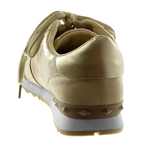 Angkorly Women's Fashion Shoes Trainers - Sporty Chic - Tennis - Bi Material - Camouflage - Studded Flat Heel 3 cm Gold hItA07GpJ