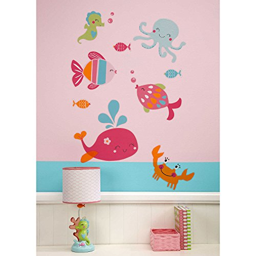 Carter's Sea Collection Wall Decals, Pink/Blue/Turquoise (Appliques Stick Wall Self)
