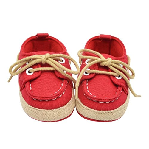 Jamicy® Babyschuhe, Säugling Jungen Mädchen Denim Lace-Up Soft Sohle Schuhe Rot