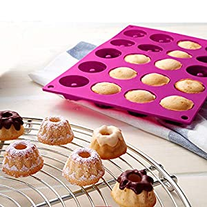 1 piece Silicone 20cups Chiffon Cake Mold Savarin Cholocate Molds Budding Baking Mould