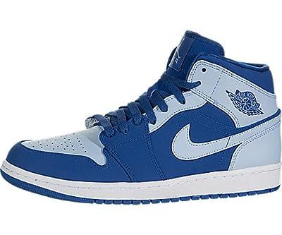 Jordan Air 1 Mid Men's Shoes Team Royal/Ice Blue/White 554724-400 (11.5 D(M) US)