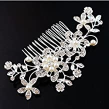 1PC Silver Flower Crystal Rhinestones Pearl Wedding Bridal Bridesmaid Hair Comb Clip Headband Hairwear Fore Women Girls Bride's Wedding