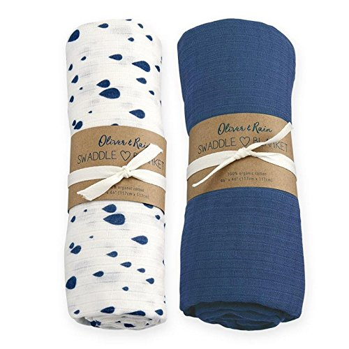 Oliver & Rain Baby Swaddle Sampler - 2-Pack Newborn 100% Organic Cotton Muslin Swaddle Blankets in Solid Navy and Rain Drop Print by Oliver & Rain