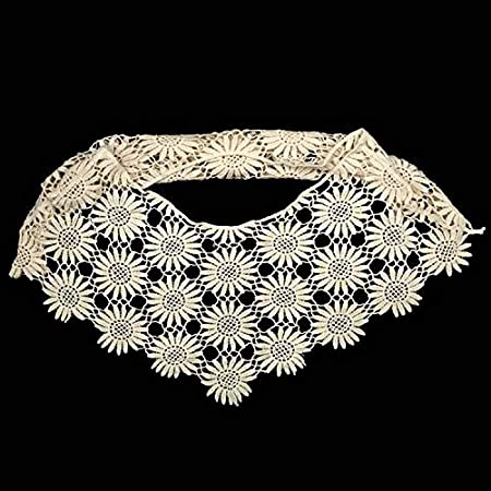 Red A Embroidered Floral Lace Neckline Neck Collar Trim Clothes Sewing Applique Edge