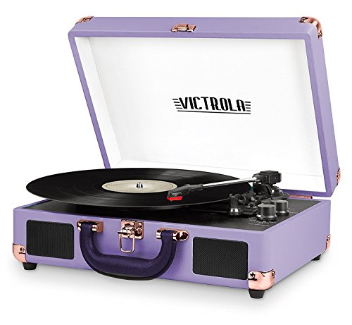 Victrola Vintage 3-Speed Bluetooth Suitcase Turntable with Speakers, Lavender