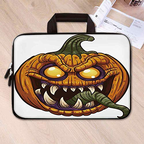 Halloween Custom Neoprene Laptop Bag,Scary Pumpkin Monster Evil Character with Fangs Aggressive Cartoon for Men Women Students,13.8''L x 10.2''W x 0.8''H -