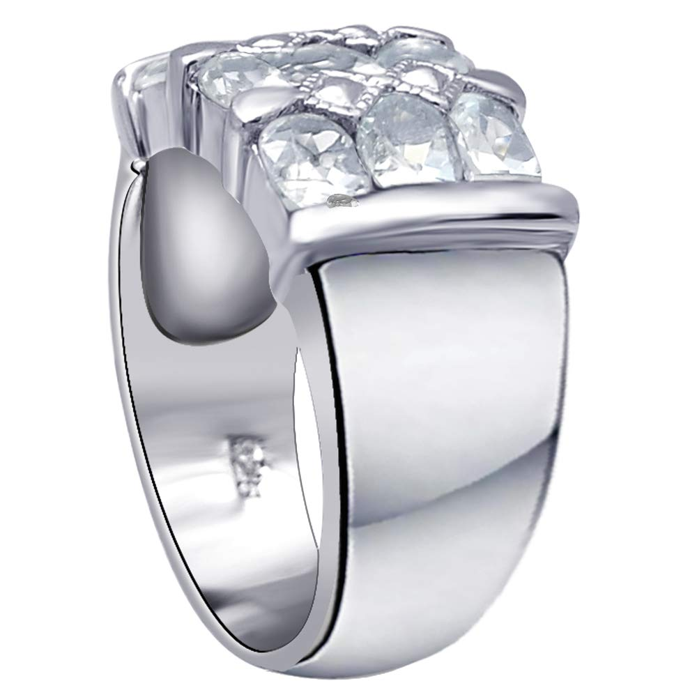 Orchid Jewelry 925 Sterling Silver Aquamarine Cocktail Unisex Ring, (Size 8) by Orchid Jewelry (Image #4)