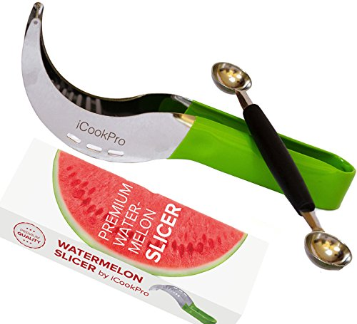 iCookPro Watermelon Slicer & Corer & Server As Seen On TV. Perfect Stainless Steel, Not Sharp, Premium Quality. Cut Your Melon Cantaloupe Fruit Easily With a Kitchen Utility Knife. Shipping from USA (Grab It As Seen On Tv)
