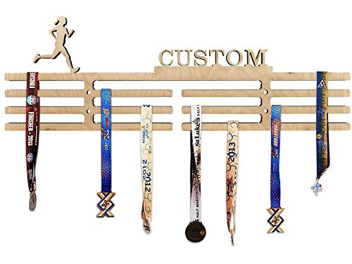 Arena Gifts Personalized Wooden Running Woman Medal Hanger Display - Customize Your Medal Rack Holder with Name or Favorite Saying Idea for Runners - Displays Up to 24 Medals or Ribbons