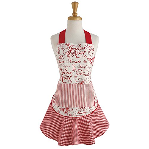 "DII Cotton Chistmas Kitchen Apron with Pocket and Extra Long Ties, 28.5 x 26"", Cute Women Ruffle Apron for Holidays, Hostee and Housewarming Gift- Vintage Christmas"