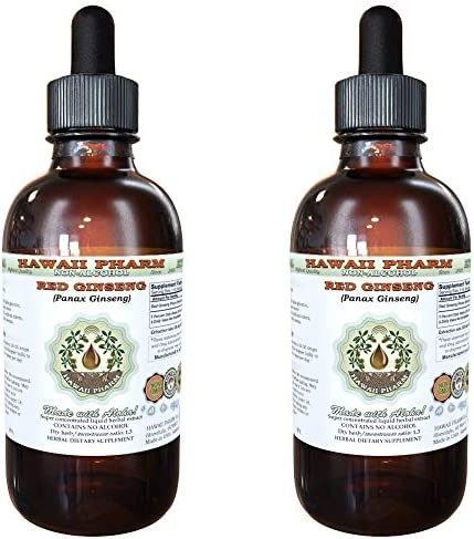 Red Ginseng Alcohol-FREE Liquid Extract, Organic Red Ginseng Panax Ginseng Dried Root Glycerite Natural Herbal Supplement, Hawaii Pharm, USA 2×4 fl.oz