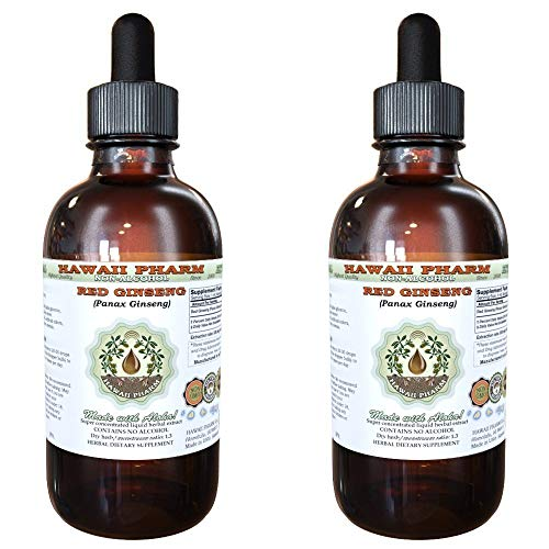 Red Ginseng Alcohol-FREE Liquid Extract, Organic Red Ginseng Panax Ginseng Dried Root Glycerite Natural Herbal Supplement, Hawaii Pharm, USA 2×2 fl.oz