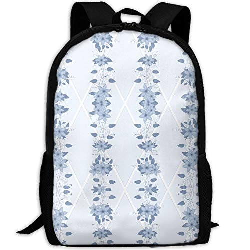 New Glory Bower Clematis Chambray Blues Wallpaper 3D Print Backpack College School Laptop Bag Daypack Travel Shoulder Bag For (Chambray Wallpaper)