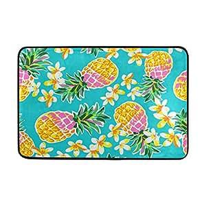 Naanle Cute Pineapples Entrada Felpudo para Interiores/al Aire Libre Decor Alfombra Felpudo 23.6(L) x15.7(W) Pulgadas Antideslizante decoración del hogar