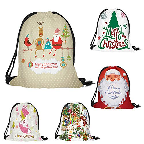 ✈ HYIRI Merry Christmas Candy Bag Satchel Novelty Bundle Pocket Drawstring Storage Bag
