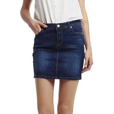 Yying Falda para Mujeres Color Sólido A-lìnea Apretado Skirt de ...