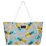 XL Pineapple Beach Bag Tote, Durable Canvas, Zipper, Lightweight, 10 Pockets.