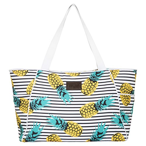 XL Pineapple Beach Bag Tote, Durable Canvas, Zipper, Lightweight, 10 Pockets. by Salt + Frenchie