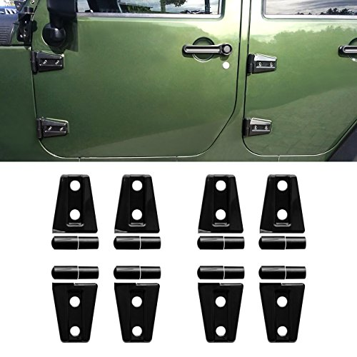 DIYTUNINGS 8 Pcs Black Door Hinge Cover Trim for 4 door Jeep Wrangler JK JKU Unlimited Rubicon Sahara X Off Road Sport Exterior Accessories Parts 2007-2017