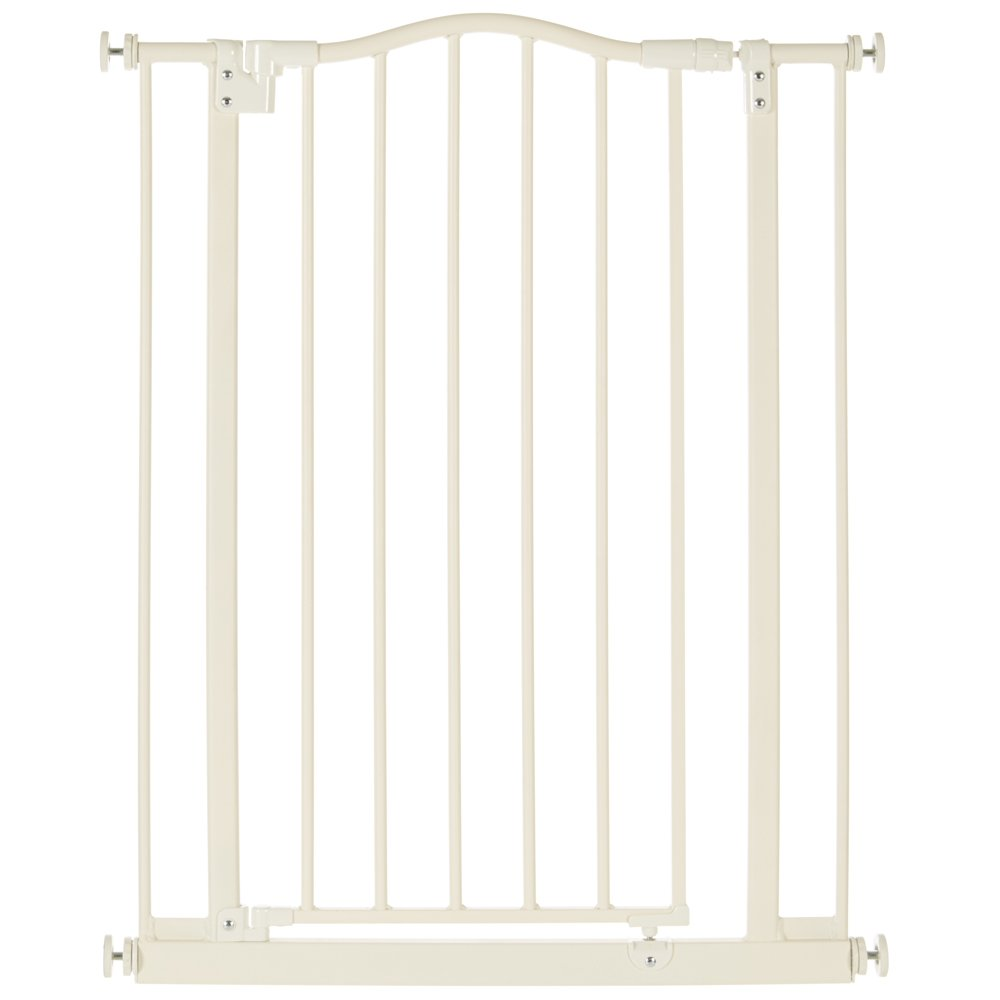 ''Tall & Wide Portico Arch Gate'' by North States: Shuts firmly yet easily with one push - Ideal for taller entries. Pressure mount. Fits openings 28.2'' to 46.8'' wide (36'' tall, Soft white)