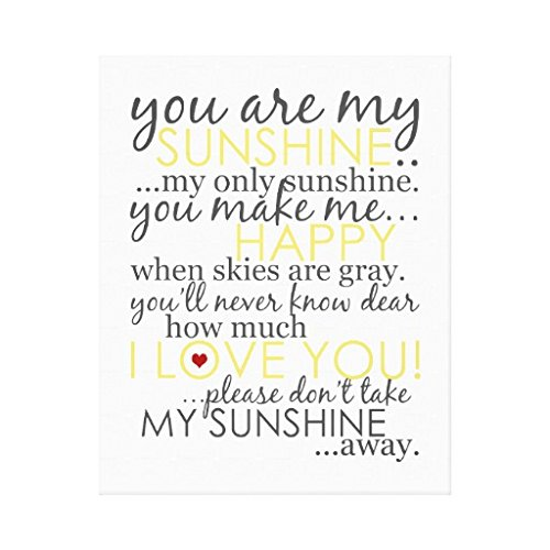 20 Framed Wall Art - You Are My Sunshine White Wrapped Canvas Wall Art For Home Decoration Wooden Framed 16