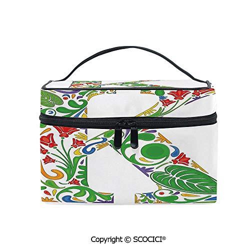 Makeup Case Double Zipper Travel Cosmetic Bags Vivid Color Scheme Natural Inspirations Flowers Leaves Stalks Uppercase K Alphabet Decorative for Women Girls