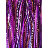 """NEW 7""""-11"""" Feather Hair Extension Long Thin Dark Purple,Violet ,Black & Grizzly Featehrs (5 Feathers Bonded At the Tip)"""
