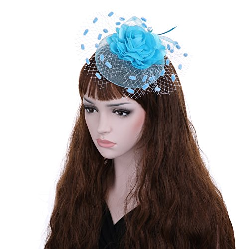 light blue feather clip - 6