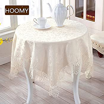 Hoomy European Style Small Tablecloth Off White Lace Table Covers For Bedside Table Jacquard Floral Table Overlays Square 33 X33