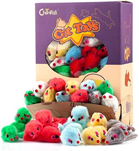 """Chiwava 4.1"""" Furry Cat Toy Mice Rattle Small Mouse Kitten Interactive Play Assorted Color"""