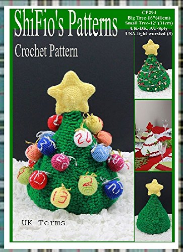 Crochet pattern - CP294 - Christmas Tree Advent Calendar, Table Decoration - 2 sizes - UK Terminology