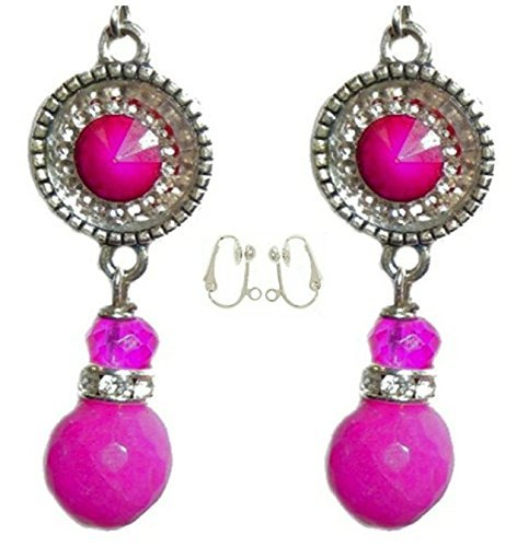 Hot Pink Sparkly Crystal & Dyed Jade Bead Earrings (Clip-Ons)