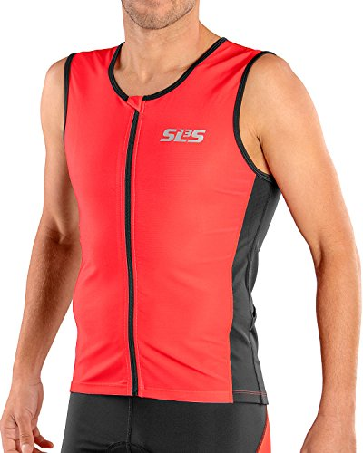 SLS3 Triathlon Men`s FRT Tri Top | 2 Pockets | Full Zipper | Jersey | Singlet | Tank | German Designed (Red/Black, XL)