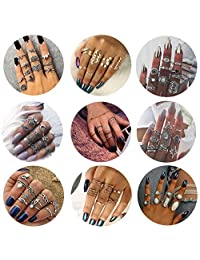Besteel 62-114 Pcs Womens Knuckle Rings for Girls Stackable Midi Joint Finger Ring Set