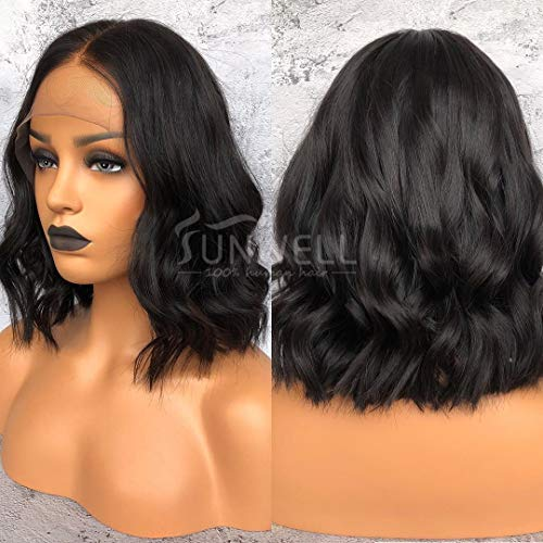 Sunwell 13x6 Short Bob Wig Brazillian Human Hair Lace Front Wigs Natural Wavy with Baby Hair for Black Women Pre Plucked 150% Density 10inch - Human Hair Quality Wig