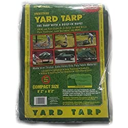 Yard Tarp with Drawstring-Poly Rope in Hem- Best Multi-Purpose Cover (9x9)