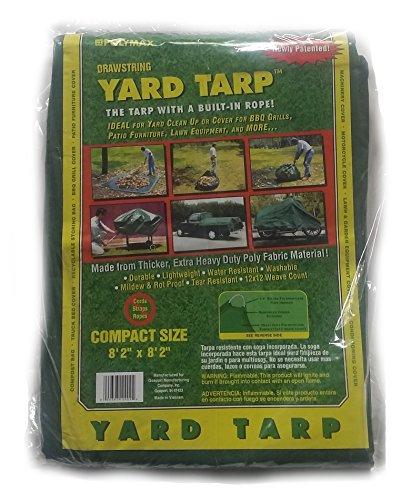 Gosport Manufacturing 12 Yard Yard Tarp with Drawstring-Poly Rope in Hem-Best Multi-Purpose Cover (9x9), Green