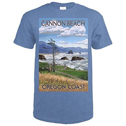 Cannon Beach, Oregon - Oregon Coast View (Heather Royal T-Shirt X-Large) from Lantern Press