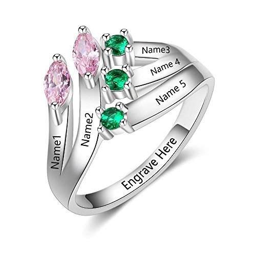 Lam Hub Fong Personalized Sterling Silver Mothers Rings with 5 Birthstones Rings for Mom Mothers Days Rings Family Name Rings for 5 RI103634-8