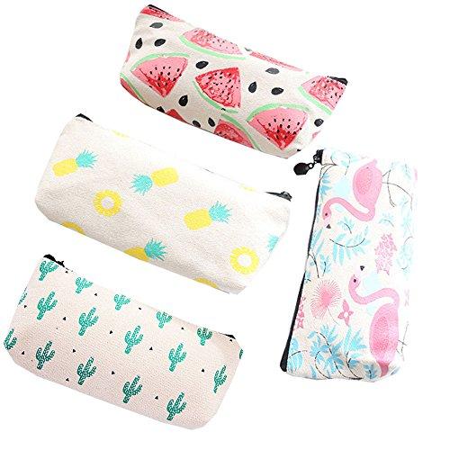 HappyDaily 4 Pack Beautiful Pencil case Pen bag or Cosmatic bag Makeup case or Coin Purse Pouch (Long Size, Cactus/Pineapple/Flamingo/Watermelon)