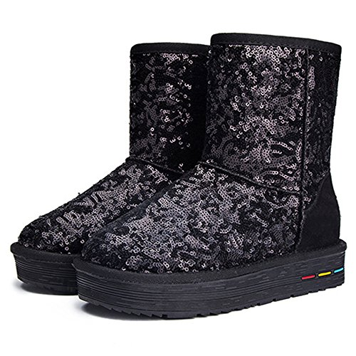Fleece Boots Short Warm Lined Outdoor Eastlion Wearable Boots Shoes Women's Keep Sequins Black Snow Winter wxPqwXT7