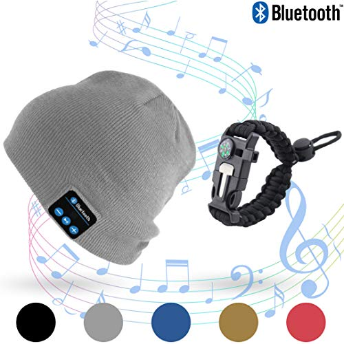 Stone & Pine Bluetooth Beanie with Emergency 5 in 1 Paracord Bracelet, Wireless Cap Rechargeable Stereo Headset hat with mic & USB. Paracord Bracelet with Compass, Blade, Whistle & Rope. (Grey)